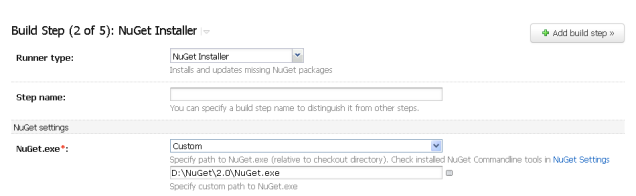 Custom NuGet build step