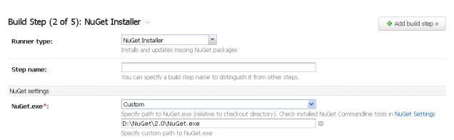 Custom NuGet build step